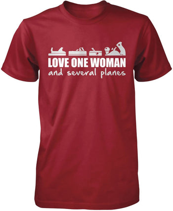 Love One Woman and Several Planes - Premium T-Shirt / Cardinal / S