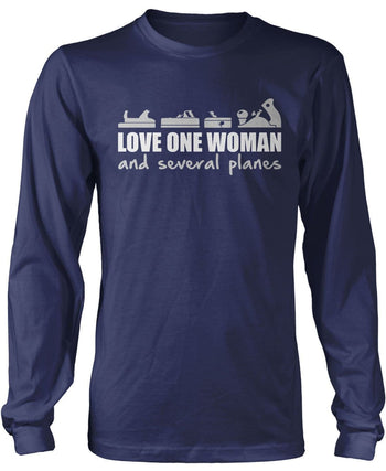 Love One Woman and Several Planes - Long Sleeve T-Shirt / Navy / S
