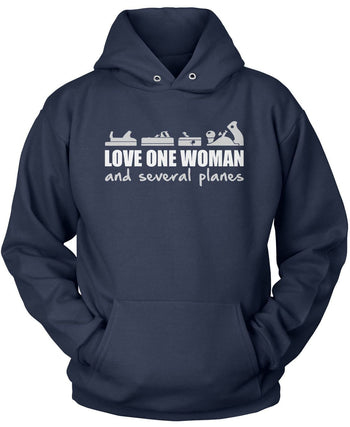 Love One Woman and Several Planes - Pullover Hoodie / Navy / S