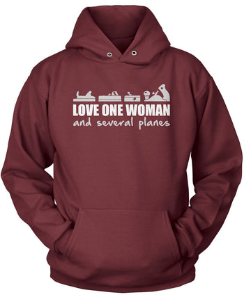 Love One Woman and Several Planes - Pullover Hoodie / Maroon / S