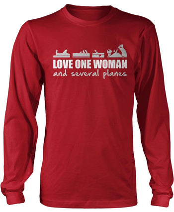 Love One Woman and Several Planes - Long Sleeve T-Shirt / Red / S