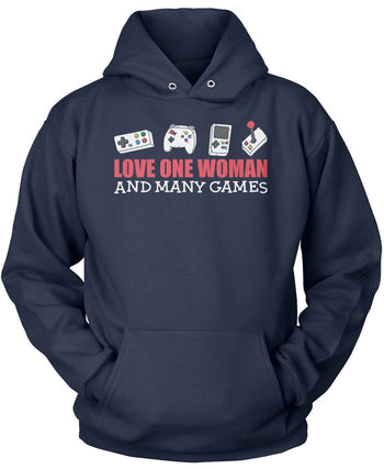 Love One Woman and Many Games - Pullover Hoodie / Navy / S