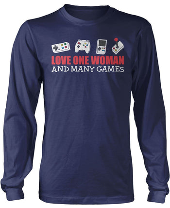 Love One Woman and Many Games - Long Sleeve T-Shirt / Navy / S