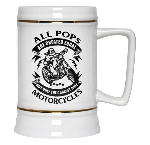 Only the Coolest Pops Ride Motorcycles - Beer Stein