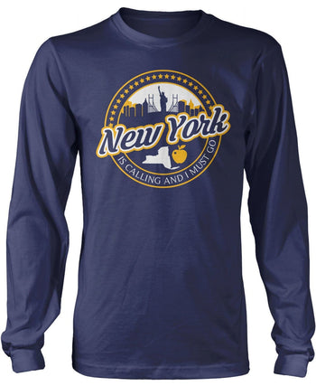New York Is Calling And I Must Go - Long Sleeve T-Shirt / Navy / S