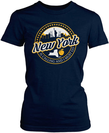 New York Is Calling And I Must Go - Women's Fit T-Shirt / Navy / S