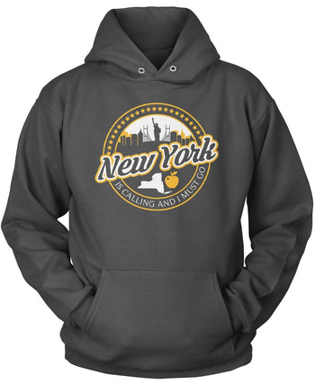 New York Is Calling And I Must Go - Pullover Hoodie / Dark Heather / S