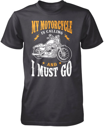 My Motorcycle is Calling and I Must Go - Premium T-Shirt / Navy / 3XL