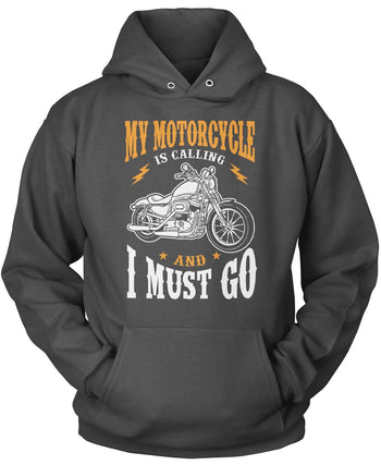 My Motorcycle is Calling and I Must Go - Pullover Hoodie / Dark Heather / S