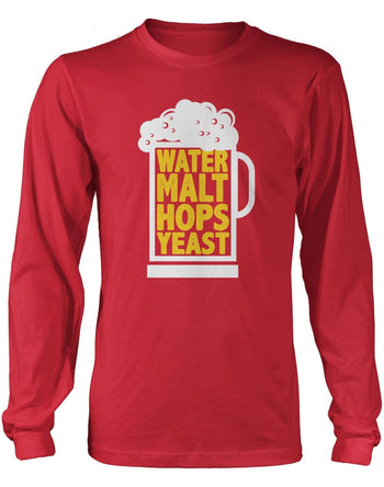 Water Malt Hops Yeast - Long Sleeve T-Shirt / Red / S