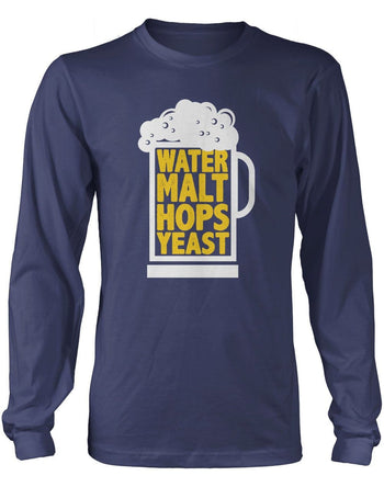Water Malt Hops Yeast - Long Sleeve T-Shirt / Navy / S