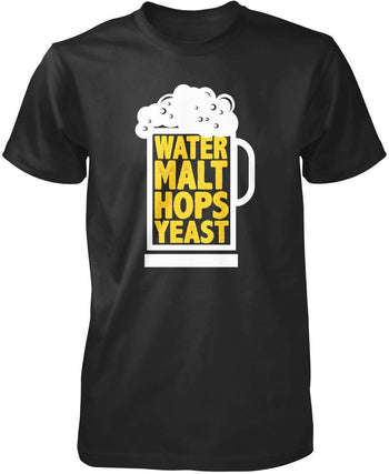Water Malt Hops Yeast Beer T-Shirt