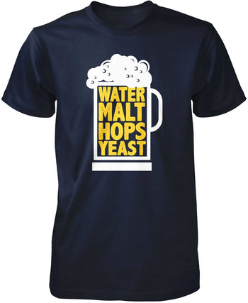 Water Malt Hops Yeast - Premium T-Shirt / Navy / S