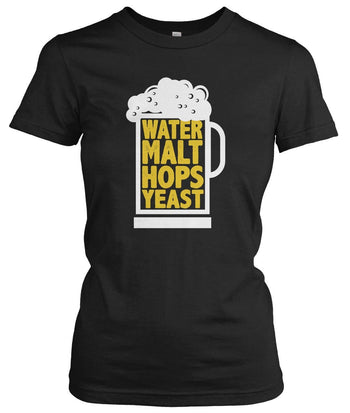 Water Malt Hops Yeast - Women's Fit T-Shirt / Black / S