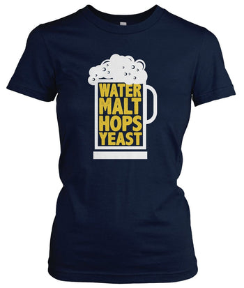 Water Malt Hops Yeast - Women's Fit T-Shirt / Navy / S