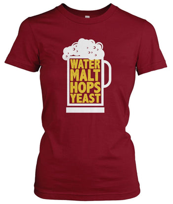 Water Malt Hops Yeast - Women's Fit T-Shirt / Cardinal / S