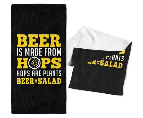 Beer Equals Salad - Gym / Bar Towel - Towels