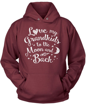 Love my Grandkids to the Moon and Back - Pullover Hoodie / Maroon / S