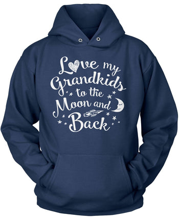Love my Grandkids to the Moon and Back - Pullover Hoodie / Navy / S