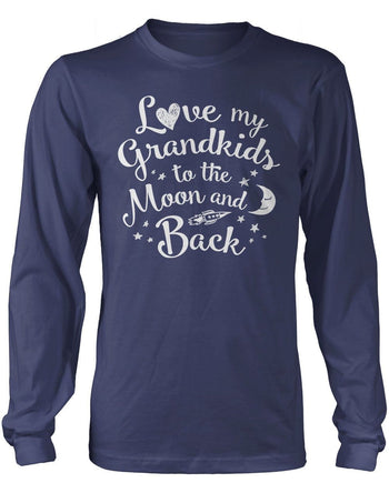 Love my Grandkids to the Moon and Back - Long Sleeve T-Shirt / Navy / S