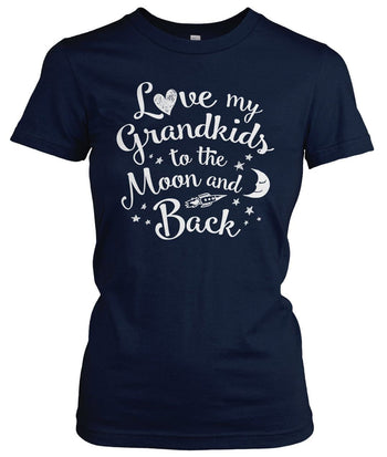 Love my Grandkids to the Moon and Back - Women's Fit T-Shirt / Navy / S
