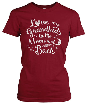 Love my Grandkids to the Moon and Back - Women's Fit T-Shirt / Cardinal / S