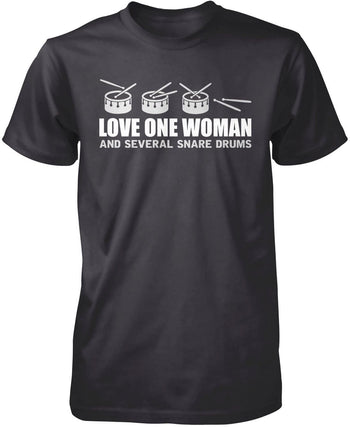 Love One Woman and Several Snare Drums - Premium T-Shirt / Dark Heather / S