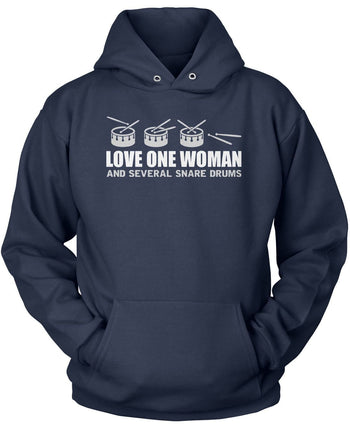 Love One Woman and Several Snare Drums - Pullover Hoodie / Navy / S