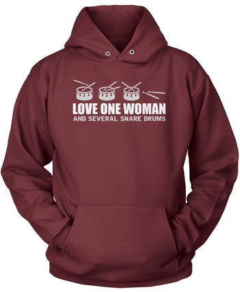 Love One Woman and Several Snare Drums - Pullover Hoodie / Maroon / S