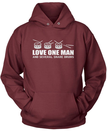 Love One Man and Several Snare Drums - Pullover Hoodie / Maroon / S