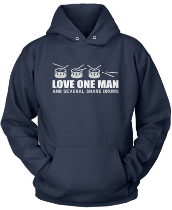Love One Man and Several Snare Drums - Pullover Hoodie / Navy / S