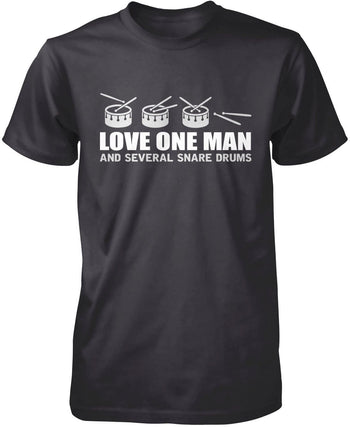 Love One Man and Several Snare Drums - Premium T-Shirt / Dark Heather / S