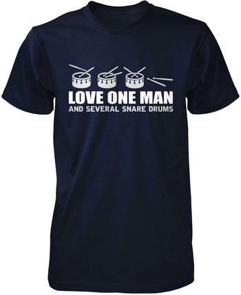 Love One Man and Several Snare Drums - Premium T-Shirt / Navy / S