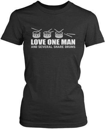 Love One Man and Several Snare Drums - Women's Fit T-Shirt / Dark Heather / S