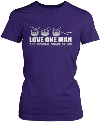 Love One Man and Several Snare Drums - Women's Fit T-Shirt / Purple / S