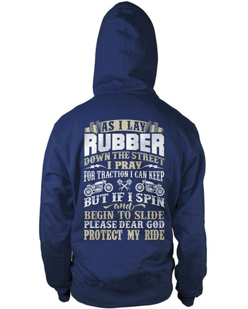 Protect My Ride (Back Print) - Pullover Hoodie / Navy / S