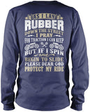 Protect My Ride (Back Print) - Long Sleeve T-Shirt / Navy / S
