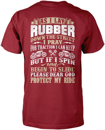 Protect My Ride (Back Print) - Premium T-Shirt / Cardinal / S