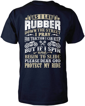 Protect My Ride (Back Print) - Premium T-Shirt / Navy / S