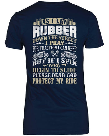 Protect My Ride (Back Print) - Women's Fit T-Shirt / Navy / S