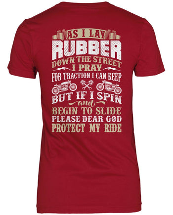 Protect My Ride (Back Print) - Women's Fit T-Shirt / Cardinal / S