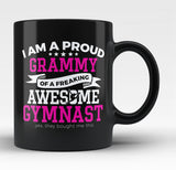 Proud Grammy of An Awesome Gymnast - Black Mug / Tea Cup