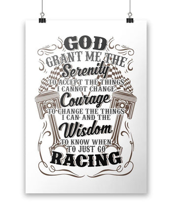 "Motor Racing Serenity - Poster - White / Small - 12"" x 17"""