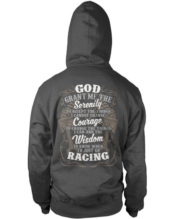 Motor Racing Serenity - Pullover Hoodie / Dark Heather / S