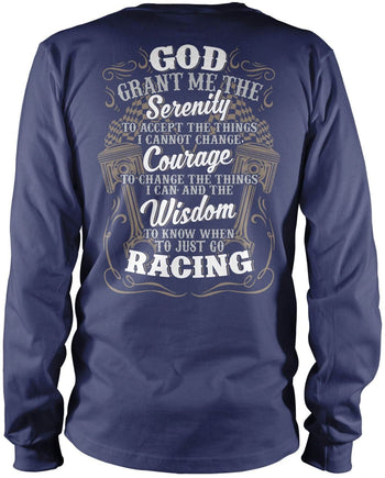 Motor Racing Serenity - Long Sleeve T-Shirt / Navy / S
