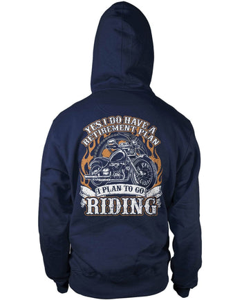 Yes I Do Have a Retirement Plan, Riding (Back Print) - Pullover Hoodie / Navy / S