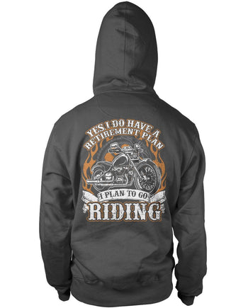 Yes I Do Have a Retirement Plan, Riding (Back Print) - Pullover Hoodie / Dark Heather / S