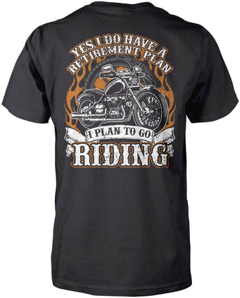 Yes I Do Have a Retirement Plan, Riding (Back Print) - Premium T-Shirt / Dark Heather / S