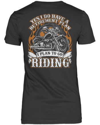 Yes I Do Have a Retirement Plan, Riding (Back Print) - Women's Fit T-Shirt / Dark Heather / S