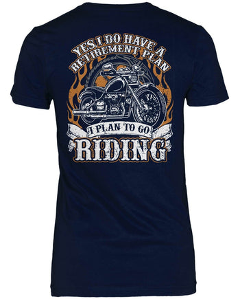 Yes I Do Have a Retirement Plan, Riding (Back Print) - Women's Fit T-Shirt / Navy / S